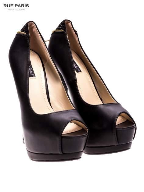 Czarne szpilki peep toe na platformie z suwakiem z tyłu                                  zdj.                                  2