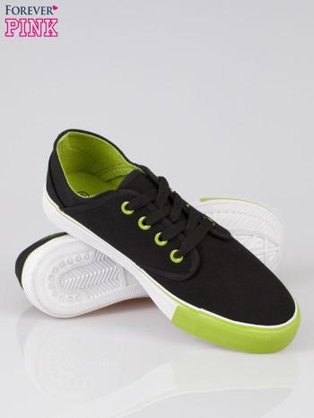 Czarne tenisówki z zielonym wykończeniem Ricco                                  zdj.                                  4