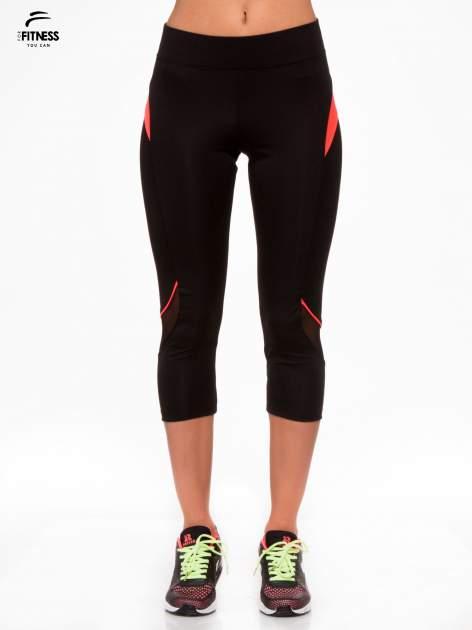 Czarne termoaktywne legginsy do biegania 3/4 z fluoróżowymi lampasami ♦ Performance RUN                                  zdj.                                  1