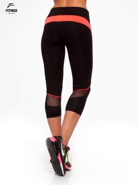 Czarne termoaktywne legginsy do biegania 3/4 z fluoróżowymi lampasami ♦ Performance RUN                                  zdj.                                  4