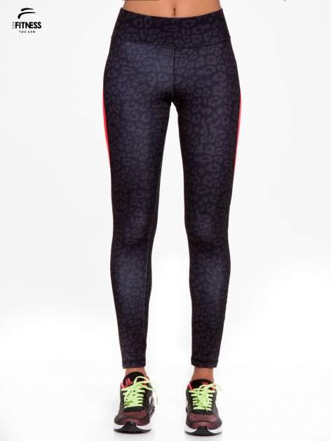 Czarne termoaktywne legginsy do biegania w panterkę z fluoróżowymi wstawkami po bokach ♦ Performance RUN                                  zdj.                                  1