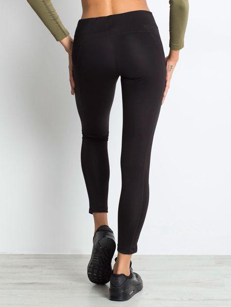 Czarne termoaktywne legginsy do biegania z błyszczącymi lampasami ♦ Performance RUN                                  zdj.                                  1