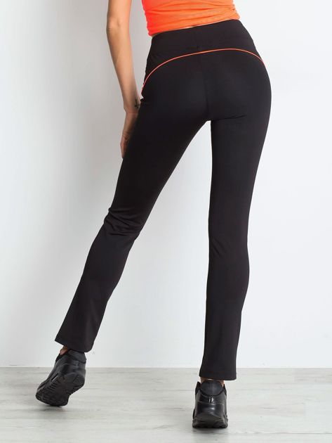 Czarne termoaktywne spodnie do biegania o prostej nogawce z fluoróżową wstawką ♦ Performance RUN                                  zdj.                                  1