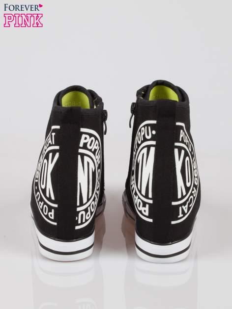 Czarne trampki na koturnie sneakersy z logo                                  zdj.                                  3