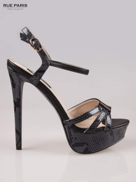 Czarne wężowe sandały na szpilce zapinane na kostce