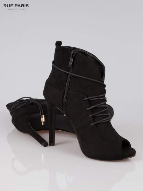 Czarne wiązane botki faux suede Elsa lace up                                  zdj.                                  4