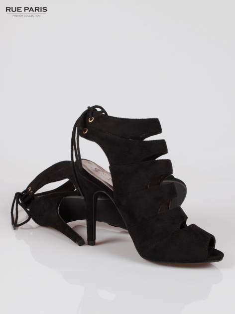 Czarne wiązane botki lace up cut out z odkrytą piętą                                  zdj.                                  4