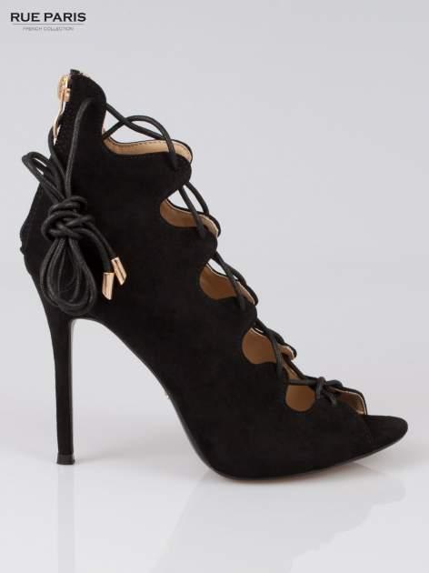 Czarne wiązane szpilki lace up z zamkiem                                  zdj.                                  1