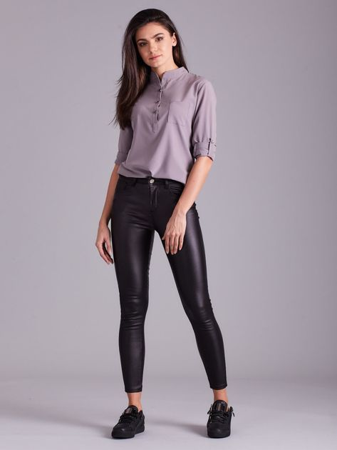 Czarne woskowane spodnie skinny                              zdj.                              1