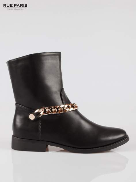 Czarne wysokie botki biker boots ze złotym łańcuchem                                  zdj.                                  1