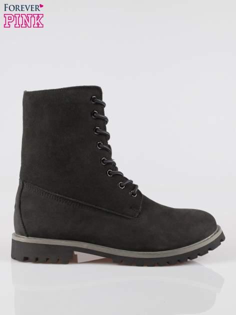 Czarne wysokie buty trekkingowe traperki damskie ze skóry naturalnej                                  zdj.                                  1