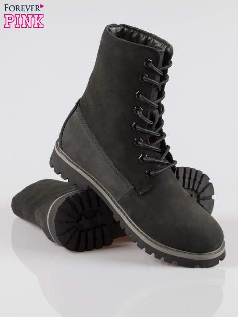 Czarne wysokie buty trekkingowe traperki damskie ze skóry naturalnej                                  zdj.                                  4