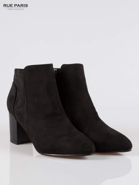 Czarne zamszowe botki ankle heels na słupku                                  zdj.                                  2