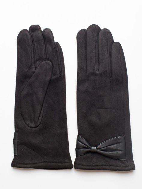 Czarne zamszowe rękawiczki damskie z kokardą
