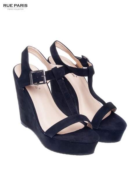 Czarne zamszowe sandały t-bary na koturnie                                  zdj.                                  2