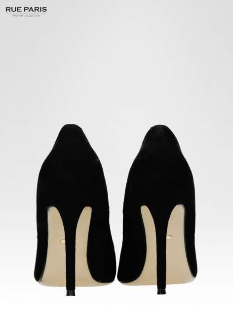 Czarne zamszowe szpilki z noskiem w szpic faux suede                                  zdj.                                  3
