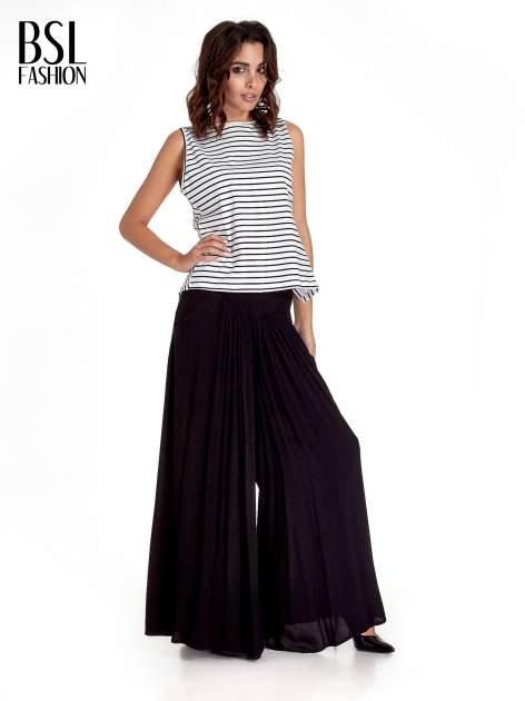 Czarne zwiewne spodnie typu culottes                                  zdj.                                  4
