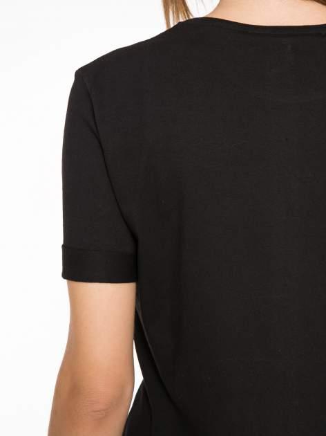 Czarnny t-shirt z nadrukiem PARIS MILANO                                  zdj.                                  10