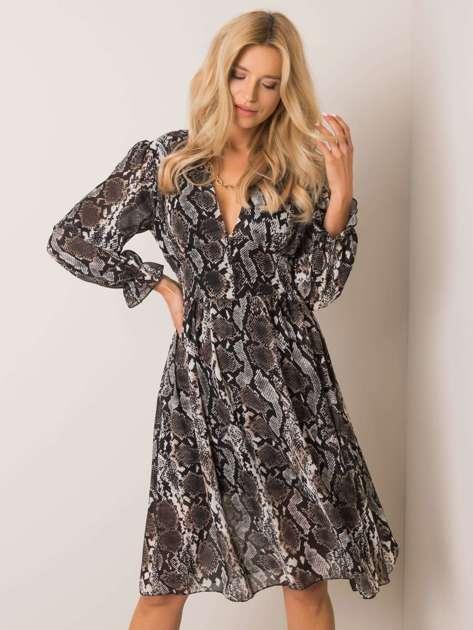 Czarno-beżowa sukienka Flammy