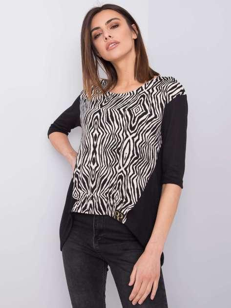 Czarno-biała bluzka we wzory Alayah RUE PARIS
