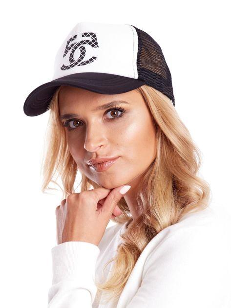 Czarno-biała czapka z daszkiem z siatkową wstawką                              zdj.                              4