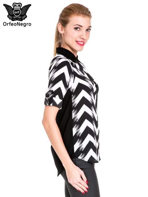 Czarno-biała koszula w geometryczny wzór                                  zdj.                                  4