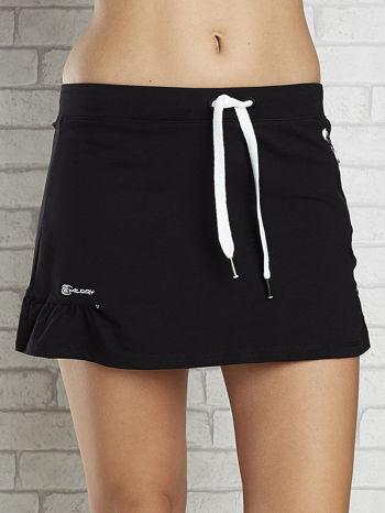 Czarno-biała spódnica dresowa z falbanką i troczkiem                                  zdj.                                  4