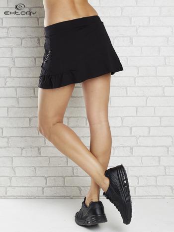 Czarno-biała spódnica dresowa z falbanką i troczkiem                                  zdj.                                  2