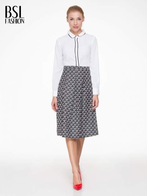 Czarno-biała spódnica midi w geometryczny wzór I                                  zdj.                                  2