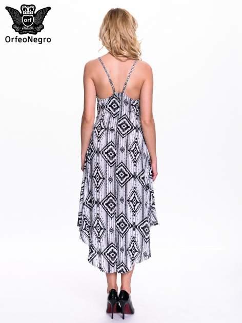 Czarno-biała sukienka w azteckie wzory                                  zdj.                                  3