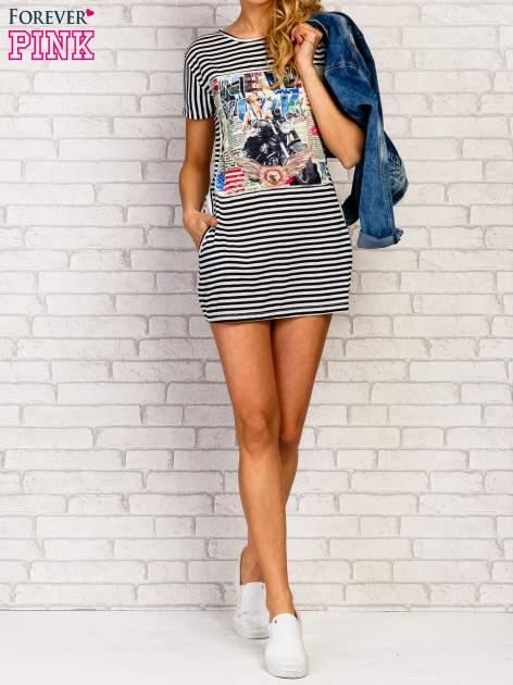 Czarno-biała sukienka w paski z nadrukiem rockowym                                  zdj.                                  7