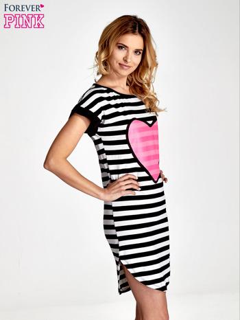 Czarno-biała sukienka w paski z nadrukiem serca                                  zdj.                                  3