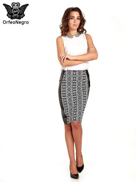 Czarno-biała wzorzysta spódnica ołówkowa ze skórzanymi modułami                                  zdj.                                  2