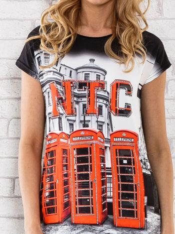 Czarno-biały t-shirt z londyńskim nadrukiem                                  zdj.                                  5