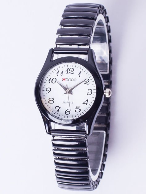 Czarno-biały zegarek damski na elastycznej bransolecie