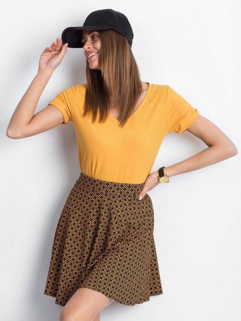 Czarno-brązowa spódnica Shiny                              zdj.                              5