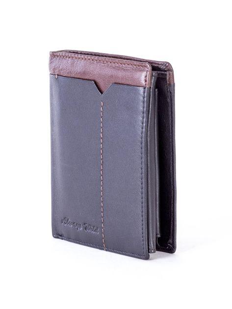 Czarno-brązowy portfel męski ze skóry                              zdj.                              3
