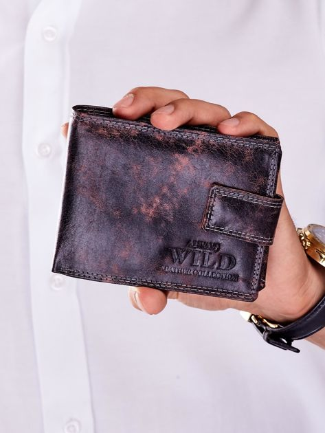 Czarno-brązowy portfel ze skóry naturalnej z przetarciami