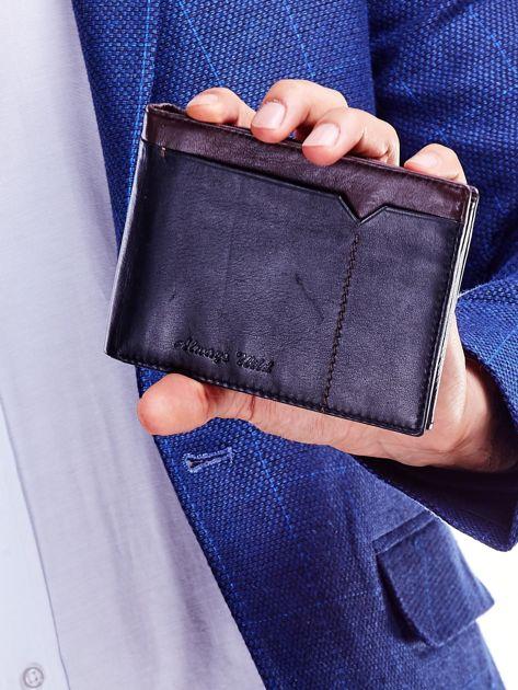 Czarno-brązowy skórzany portfel męski