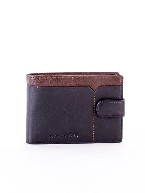 Czarno-brązowy skórzany portfel z przeszyciem i kolorową wstawką