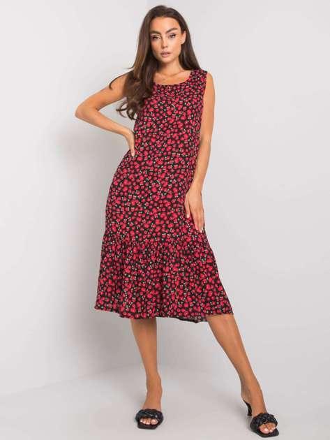 Czarno-czerwona sukienka midi Julianne RUE PARIS