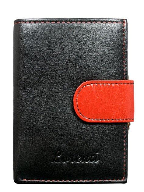 Czarno-czerwone skórzany portfel damski na bigiel i napę