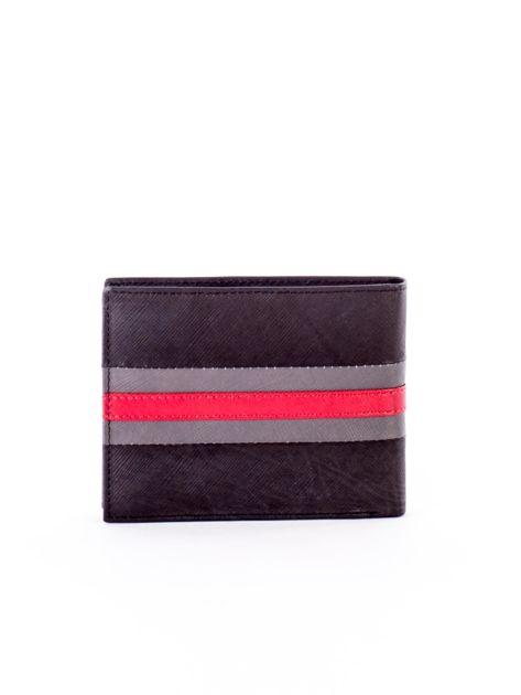 Czarno-czerwony portfel ze skóry naturalnej                               zdj.                              2