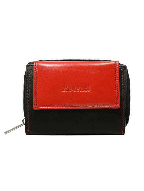 Czarno-czerwony skórzany portfel damski na napę i suwak