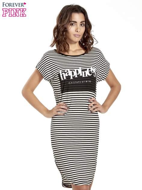 Czarno-ecru sukienka w paski z napisem HAPPINESS                                  zdj.                                  1