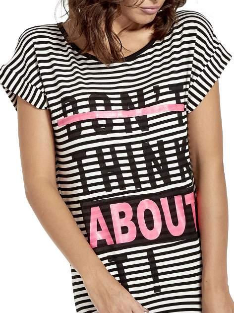 Czarno-ecru sukienka w paski z napisem I DON'T THINK ABOUT IT!                                  zdj.                                  5