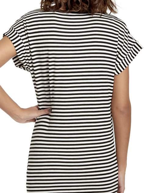 Czarno-ecru sukienka w paski z napisem I DON'T THINK ABOUT IT!                                  zdj.                                  7