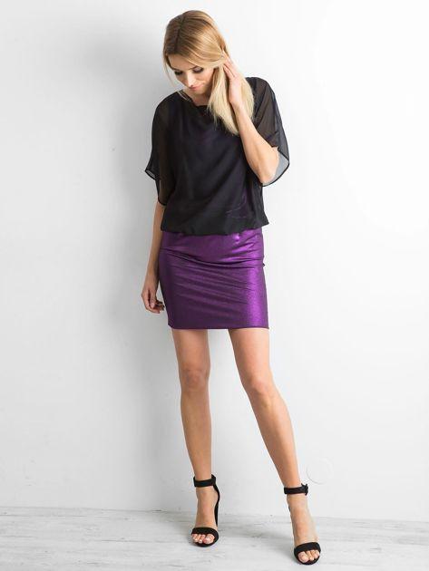Czarno-fioletowa sukienka damska                              zdj.                              4