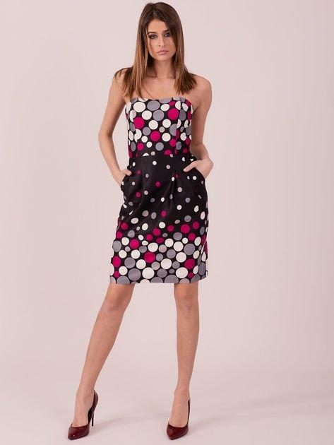 Czarno-fuksjowa sukienka koktajlowa w kolorowe grochy                              zdj.                              4