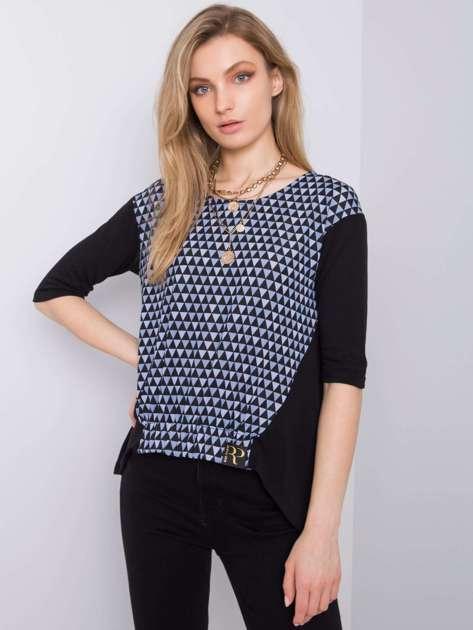 Czarno-niebieska bluzka z nadrukiem Amy RUE PARIS